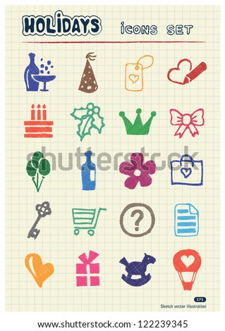 Christmas and other holidays web icons set drawn by color pencils. Hand drawn vector elements pack isolated on paper