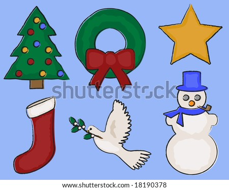 Christmas and winter design elements in painted/charcoal style. - stock vector