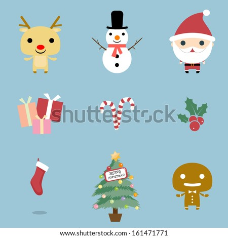 Christmas and Winter icons collection. Christmas Icons set, vector. Christmas icons, elements and illustrations. Christmas Icons/Objects Collection. Detailed vector illustration. - stock vector