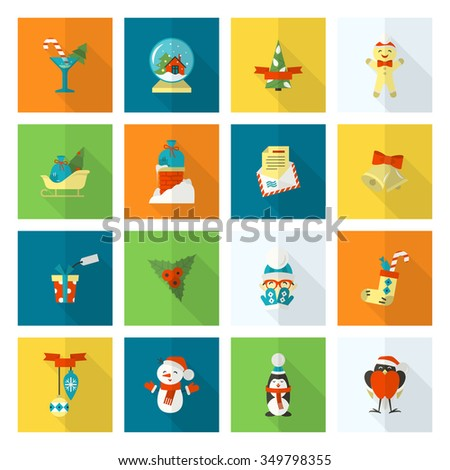 Christmas and Winter Icons Collection. Colorful. Long Shadow. Simple and Minimalistic Style. Vector