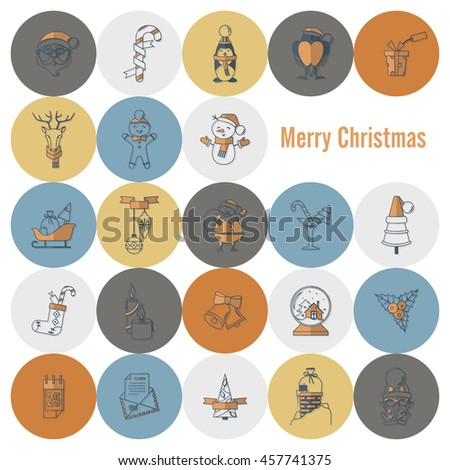 Christmas and Winter Icons Collection. Retro Color. Simple and Minimalistic Style. Vector - stock vector