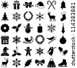 Christmas and Winter icons collection - vector silhouette - stock photo