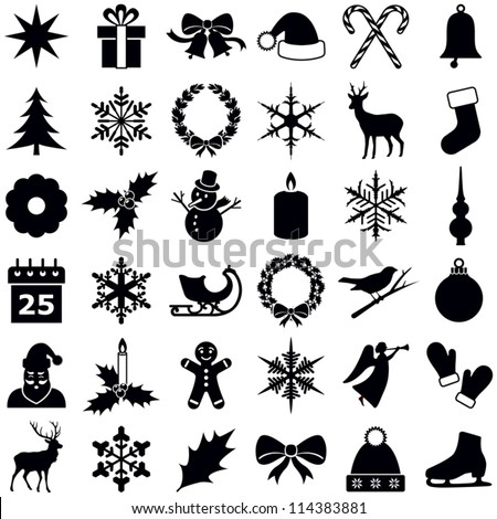 Christmas and Winter icons collection - vector silhouette - stock vector