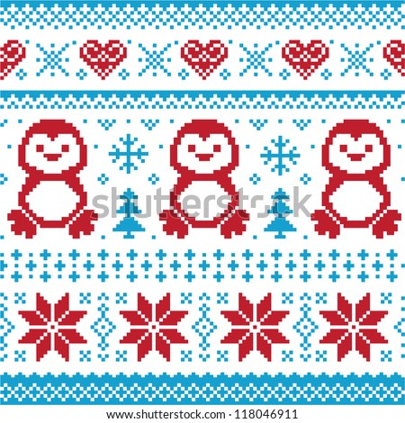 Christmas and Winter knitted pattern, card - scandynavian sweater style - stock vector