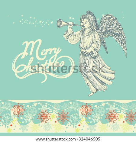 Christmas angel greeting card - stock vector