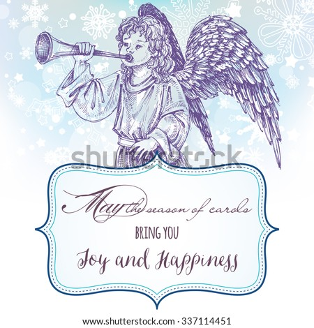 Christmas angel greeting card with frame for text - stock vector