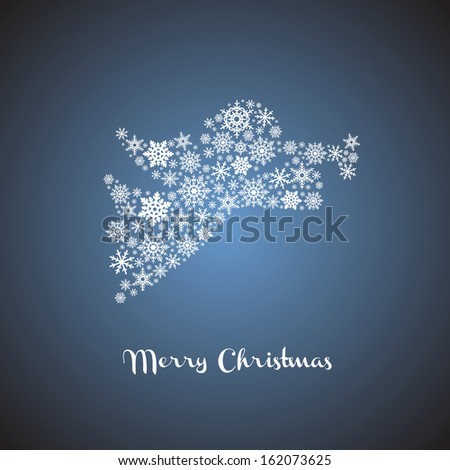 Christmas angel silhouette with snowflakes - stock vector