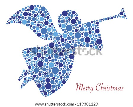 Christmas Angel Trumpet Silhouette in Polka Dots with Merry Christmas Vector Text Illustration - stock vector