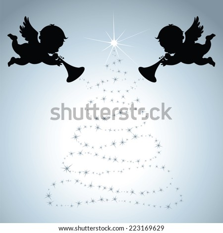 Christmas Angels with silver background - stock vector