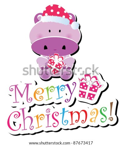 Christmas animal icon-(hippo version),more animals are available - stock vector