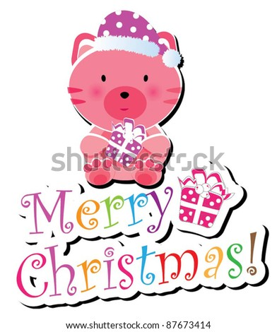 Christmas animal icon-(kitty cat version),more animals are available - stock vector