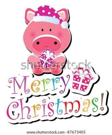 Christmas animal icon-(piggy version),more animals are available - stock vector