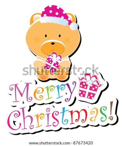 Christmas animal icon-(teddy bear version),more animals are available - stock vector