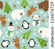 Christmas animal seamless pattern - stock vector