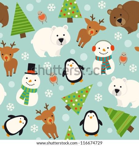 Christmas animal seamless pattern