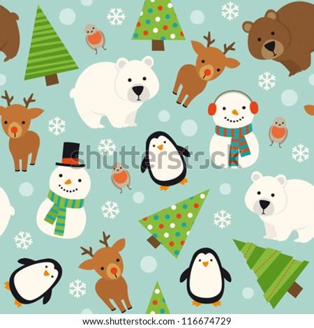 Christmas animal seamless pattern - stock vector