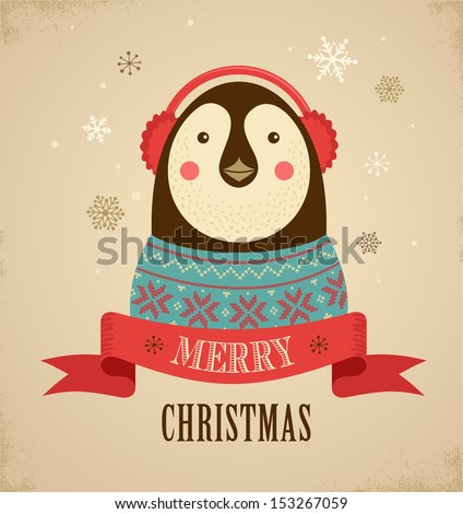 Christmas background and greeting card with hipster penguin - stock vector
