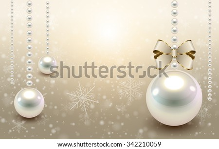 Christmas background beige with glossy balls and snowflakes, christmas vector illustration. - stock vector