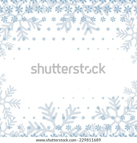 Christmas background. Blue snowflakes background with free place for best wishes