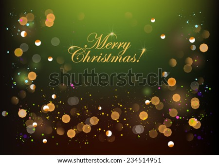 Christmas background, card, greeting, flickering - stock vector