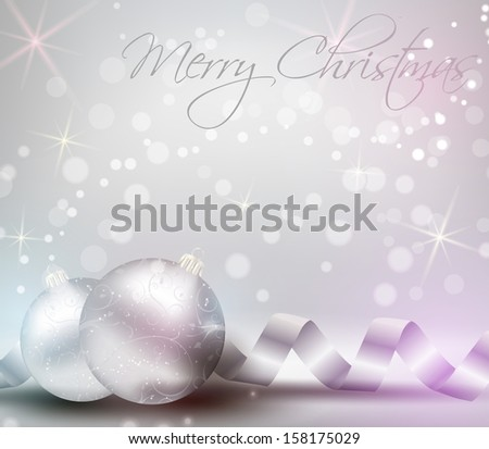 Christmas background card with ribbons and shiny christmas baubles - stock vector