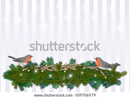 Christmas background Christmas Greeting with sweet robin redbreast on twigs