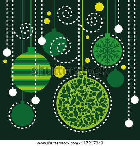 Christmas background, Christmas pattern, Christmas card with green decorations - stock vector