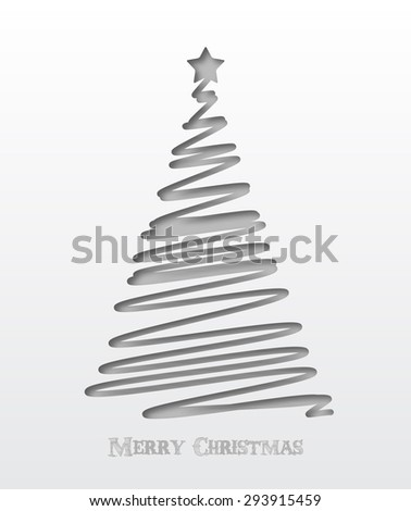 Christmas background. Christmas tree scribble card in cut paper style design. Vector illustration. - stock vector