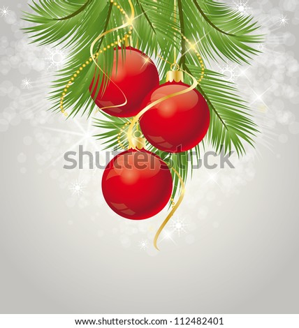 Christmas background decorated with branches - stock vector