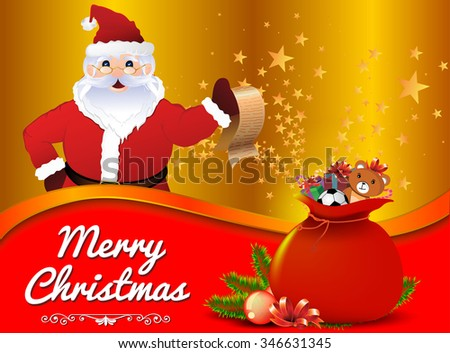 Christmas background, Festive background with Santa Claus, vector background