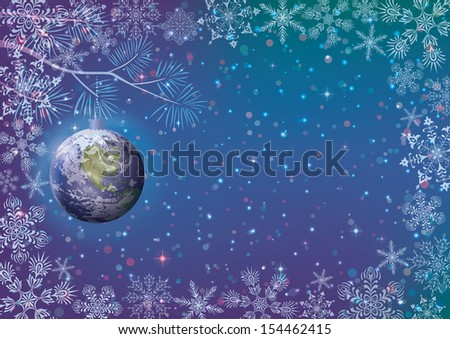 Christmas background for holiday design, snowflakes and planet Earth as a glass ball on dark blue sky. Elements of this image furnished by NASA (www.visibleearth.nasa.gov). Eps10. Vector - stock vector