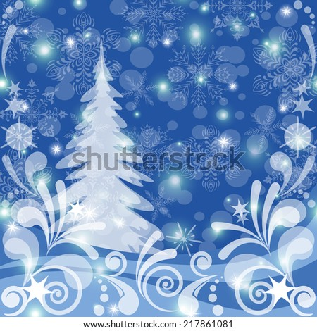 Christmas background for holiday design, winter snowy forest with fir tree, abstract white patterns, snowflakes and stars. Vector eps10, contains transparencies - stock vector