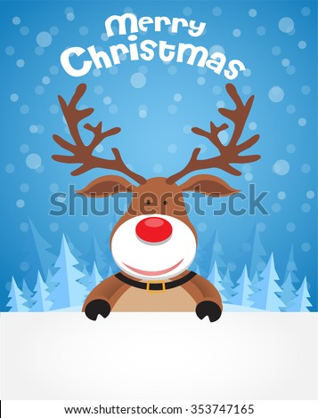 Christmas background. Funny deer on the Winter landscape