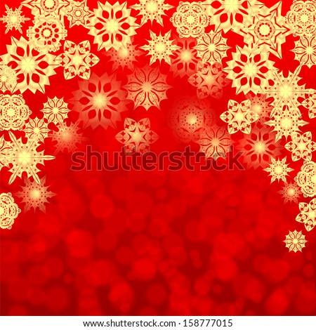 christmas background.golden snowflakes on a red background.background for greeting card.vector  - stock vector