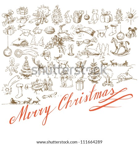 christmas background - hand drawn card - stock vector