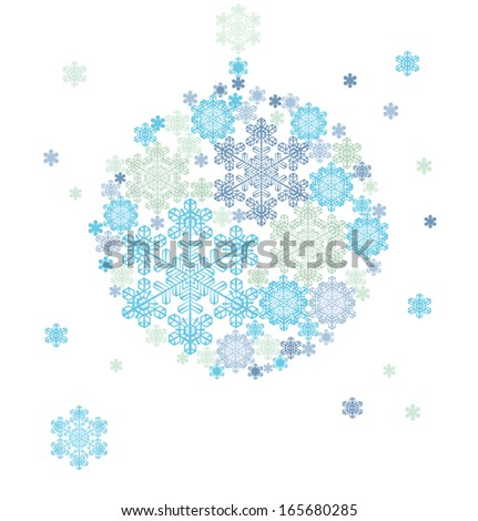 Christmas background hanging ball  silhouette formed by   snowflakes - stock vector