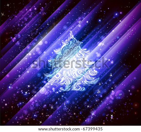 christmas background in blue and violet shades - stock vector