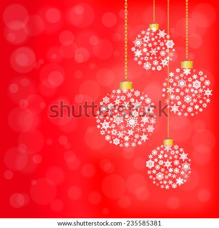 Christmas background in red tone and snowflake ball