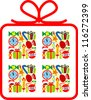 Christmas background in the form of gift - stock vector