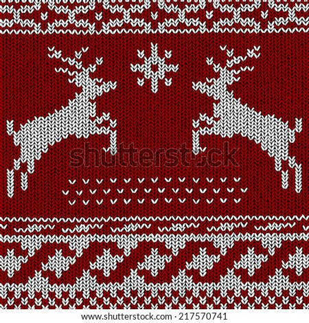 Christmas Background Norwegian Knitting Patterns Stock Vector