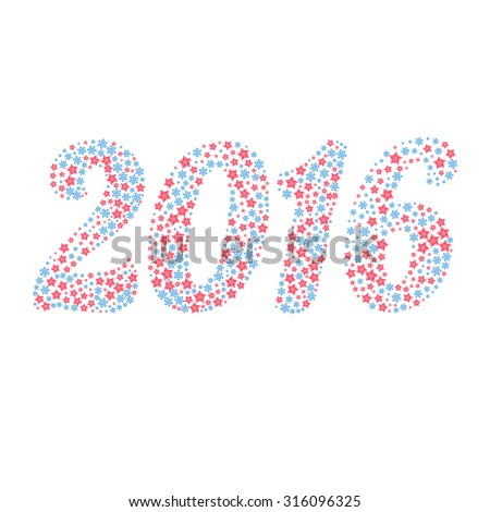 Christmas background of 2016 numbers in the form of snowflakes and stars over white - stock vector
