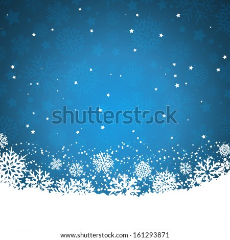 Christmas background of snowflakes and stars - stock vector