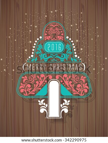 Christmas background on wood texture. Christmas tree.  - stock vector