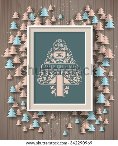 Christmas background on wood texture. Design elements for holiday cards. - stock vector