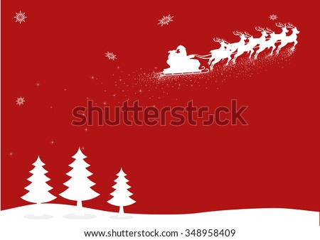 Christmas background or theme, Santa Claus flying with his sleigh - stock vector