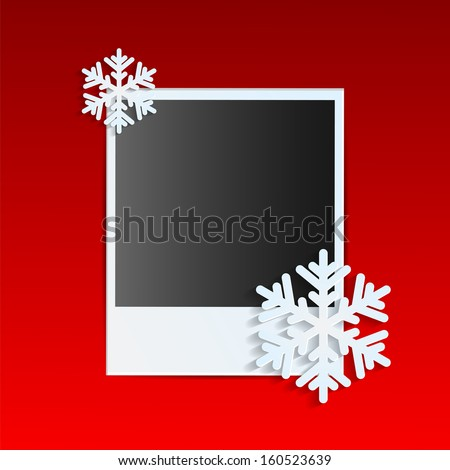Christmas background.photo on a red background decorated with white snowflakes.vector - stock vector