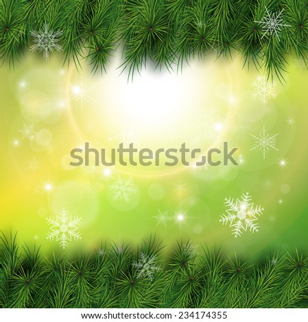 Christmas background, pine tree with lights and snow, vector illustration. - stock vector