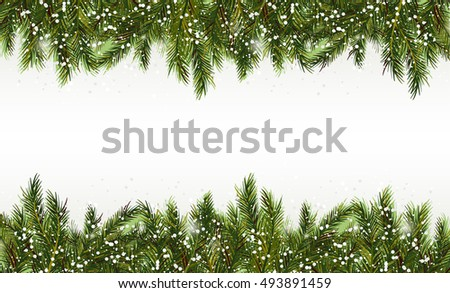 Christmas background-Realistic frame with fir