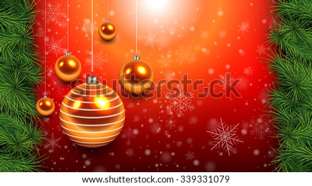 Christmas background red with gold balls and fir branches. Vector Illustration. - stock vector