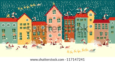 Christmas background. Santa Claus on the roof. seamless